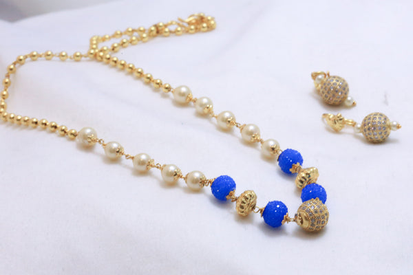 Delicate CZ Ball Indian Necklace - Blue - AristaBeads Jewelry - 3