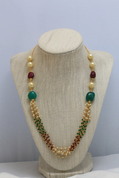 Layered Pearl Indian Necklace - AristaBeads Jewelry - 2