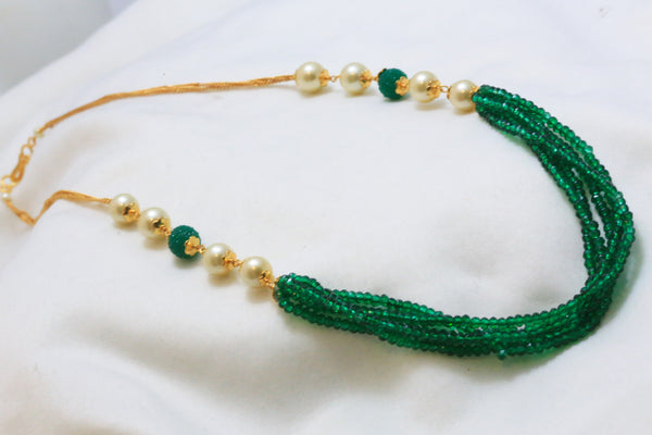 Delicate Layered Green Indian Necklace - AristaBeads Jewelry - 2