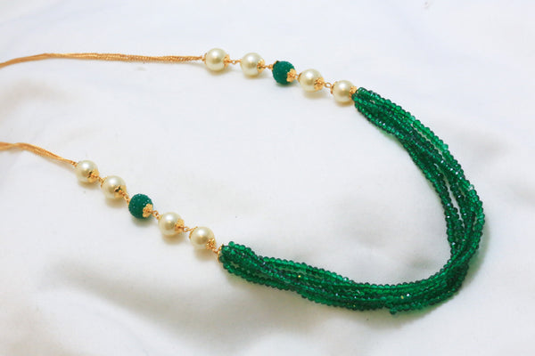 Delicate Layered Green Indian Necklace - AristaBeads Jewelry - 1