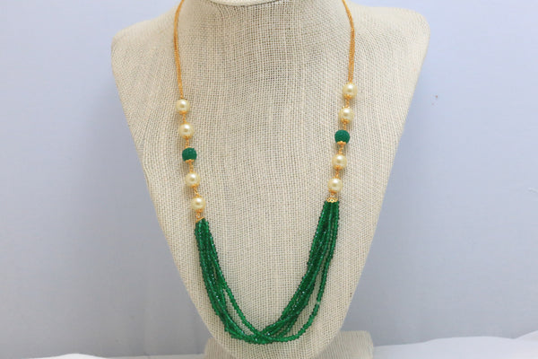 Delicate Layered Green Indian Necklace - AristaBeads Jewelry - 3
