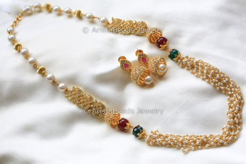 Layered Pearl CZ Indian Necklace
