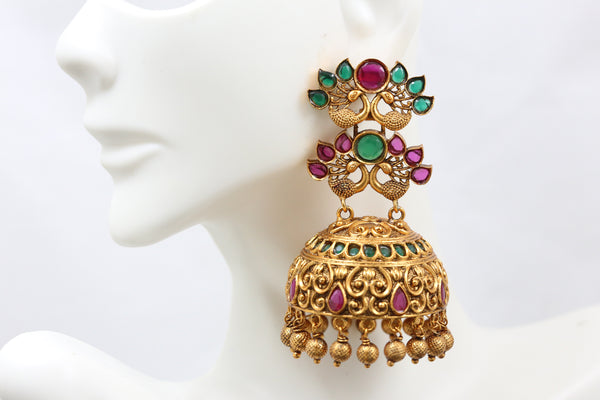 Large Antique Gold Ruby Emerald Jhumka