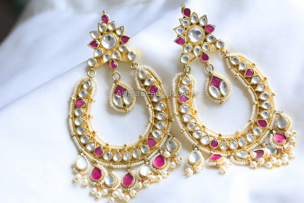 Large Kundan Chandbali Earrings