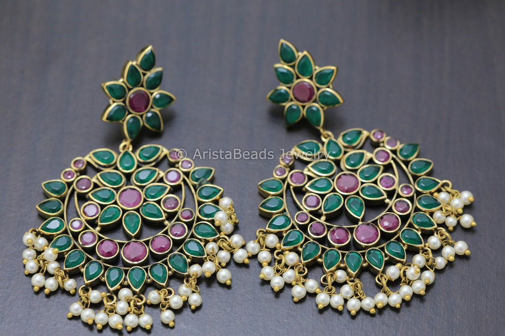 Large Emerald Ruby Chandbaali