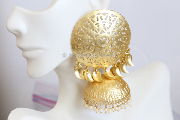 Large Matt Gold Jhumka