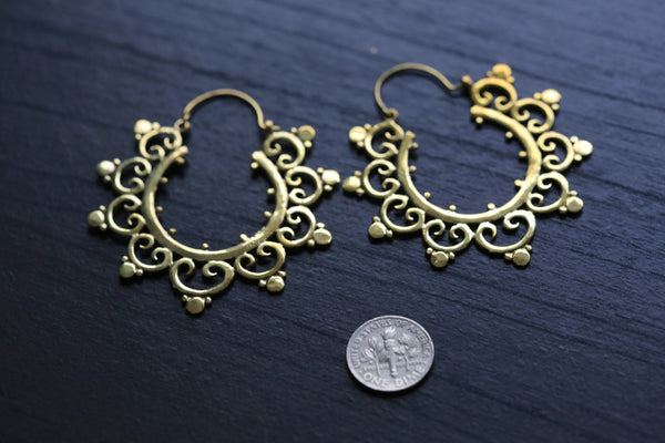Large Gold Tribal Brass Hoops - AristaBeads Jewelry - 5