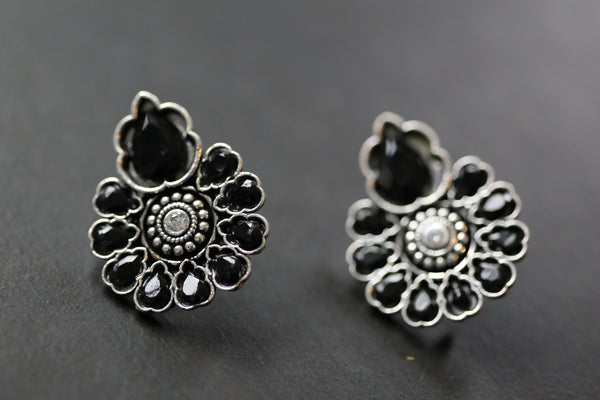 Polki Stud Earring - Black