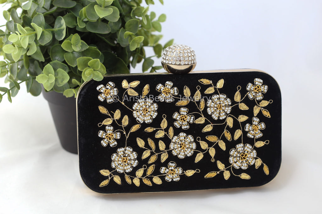 Black Velvet Zardozi Hand Embroidered Clutch