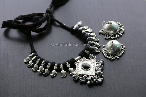 Black Tribal Pendant Necklace