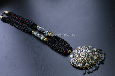 Black seed beads tibetan necklace