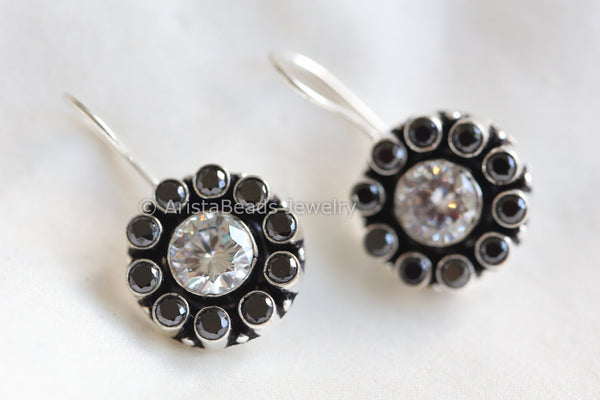 Silver Plated Black CZ Drops