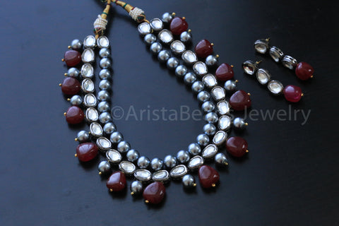 Contemporary Oxidized Kundan Necklace - AristaBeads Jewelry - 4