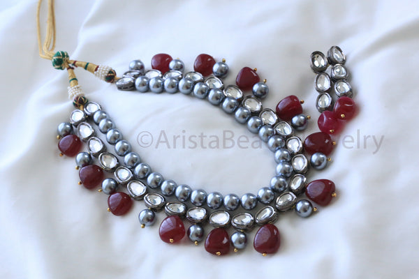 Contemporary Oxidized Kundan Necklace - AristaBeads Jewelry - 2
