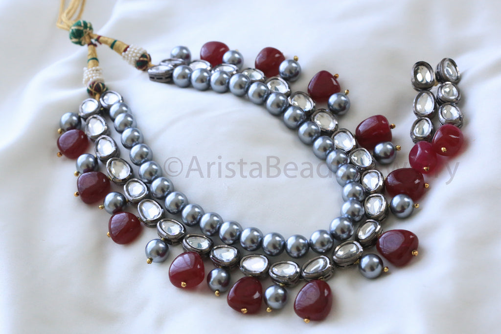 Contemporary Oxidized Kundan Necklace - AristaBeads Jewelry - 1