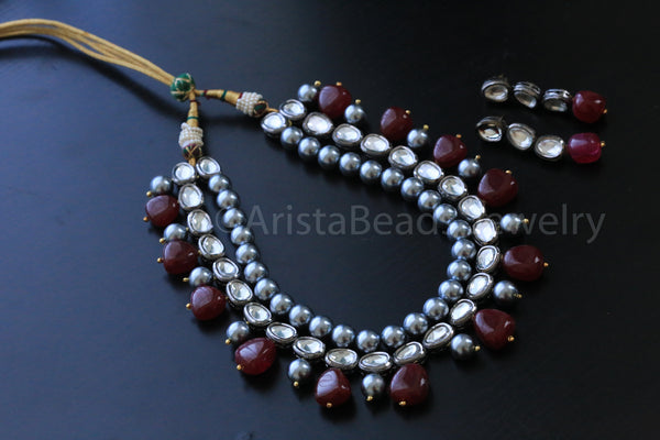 Contemporary Oxidized Kundan Necklace - AristaBeads Jewelry - 5