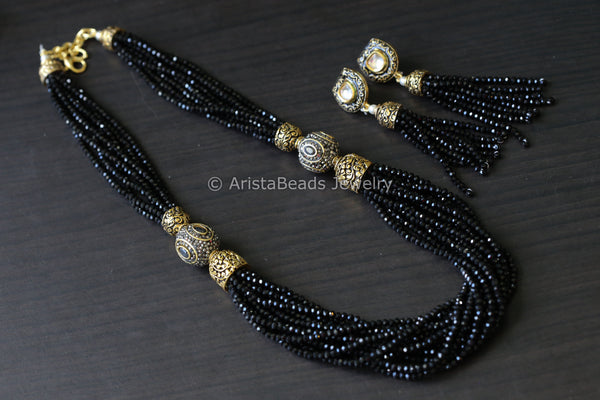 Contemporary Layered Crystal Beads Necklace - Black