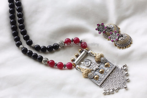 Black Ruby Ethnic Peacock Pendant Set
