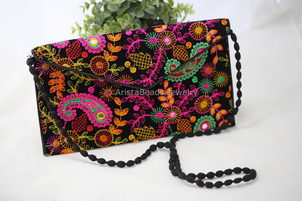 Velvet Black Banjara Clutch Bag