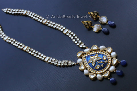 Royal Kundan Jadau Blue Necklace