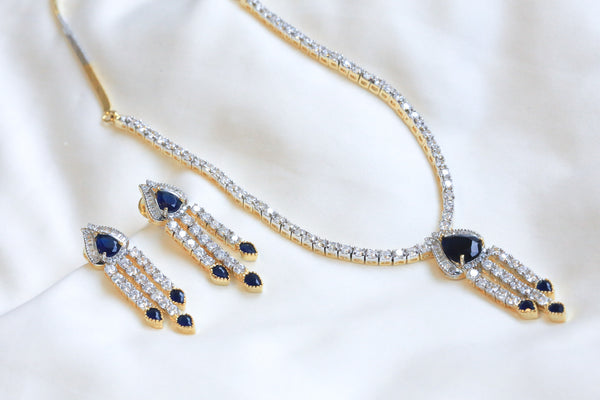 Sapphire Blue Victorian Necklace Set - AristaBeads Jewelry - 3