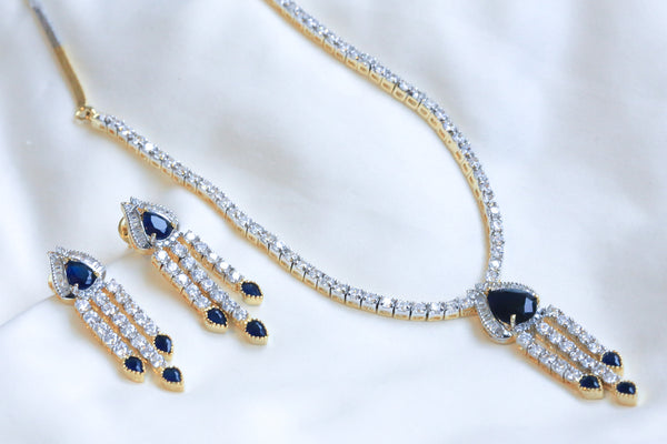 Sapphire Blue Victorian Necklace Set - AristaBeads Jewelry - 4