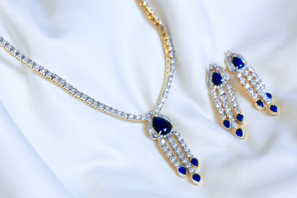 Sapphire Blue Victorian Necklace Set - AristaBeads Jewelry - 2