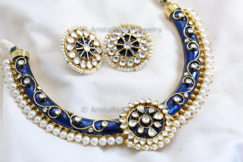 Jadau Real Kundan Enamel Hasli Necklace - Blue