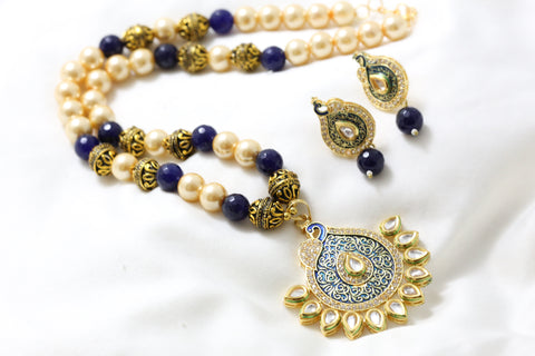 Blue Enamel Kundan Pearl Necklace