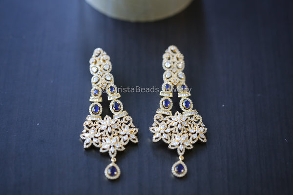 Sapphire Blue Long CZ Earrings
