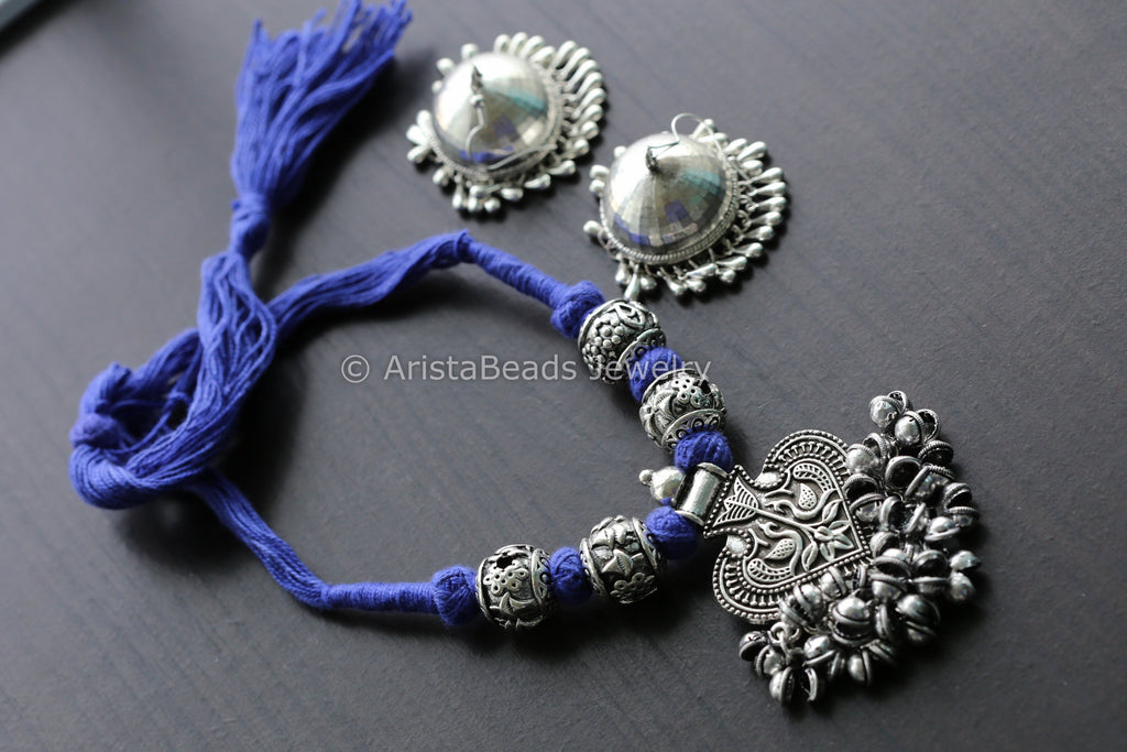 Blue Tribal Ghungroo Pendant Necklace