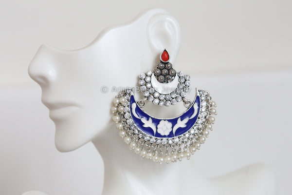 Enamel Chandbaali - Blue White