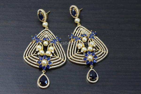 Contemporary Sapphire Blue Pearl Earrings