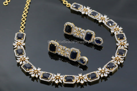 Contemporary Sapphire Blue CZ Necklace