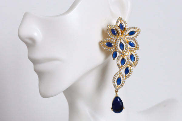 Contemporary Blue CZ Earrings