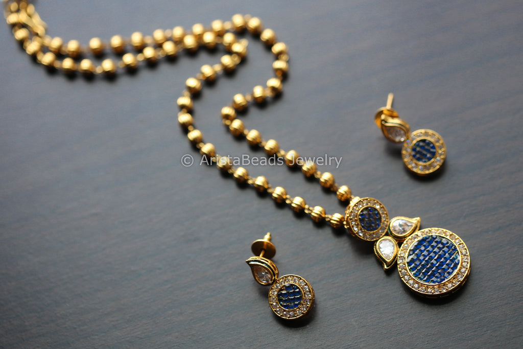 Blue Polki Antique Necklace Set