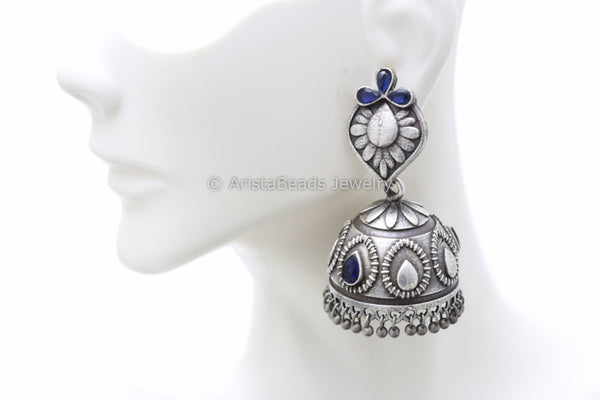 Blue Silver Plated Jhumka