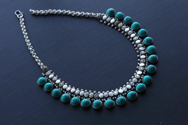Reserved> Oxidized Turquoise Necklace