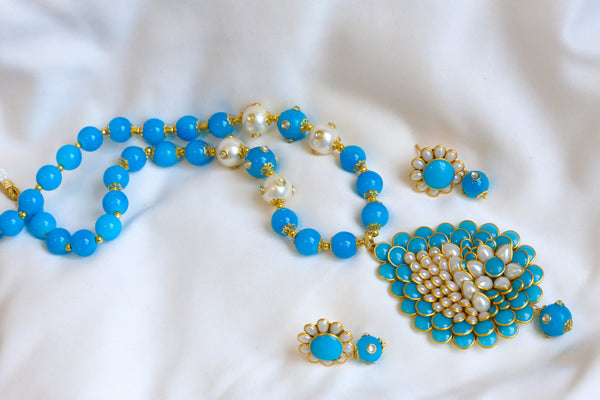 Blue Beaded Pachi Necklace Set