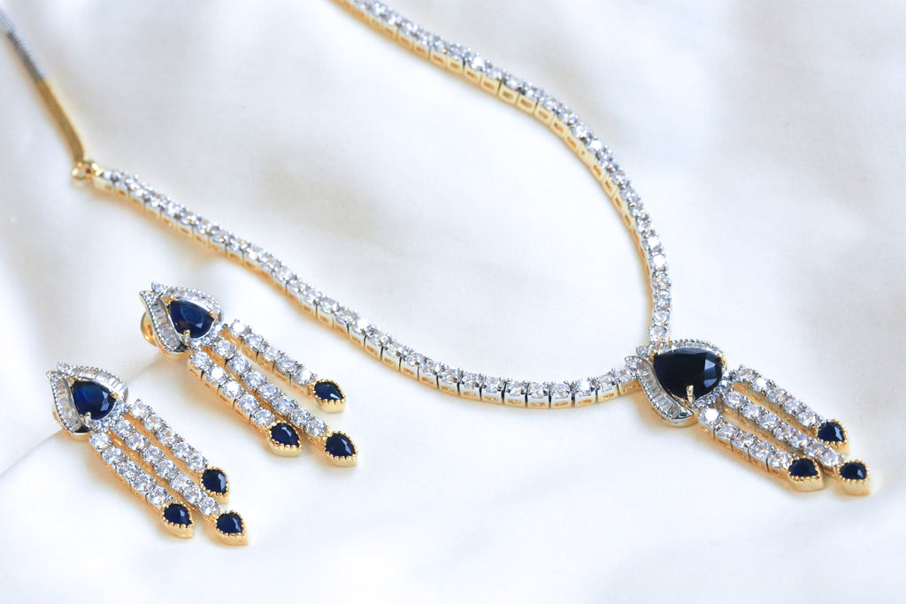 Sapphire Blue Victorian Necklace Set - AristaBeads Jewelry - 1