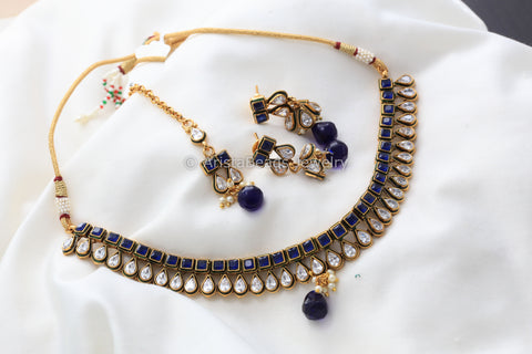 Rajwadi Blue AD Necklace