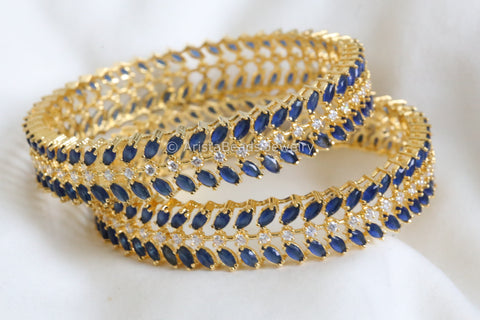 Contemporary Blue CZ Bangle Set