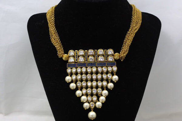 Blue AD Kundan Tanmani Necklace