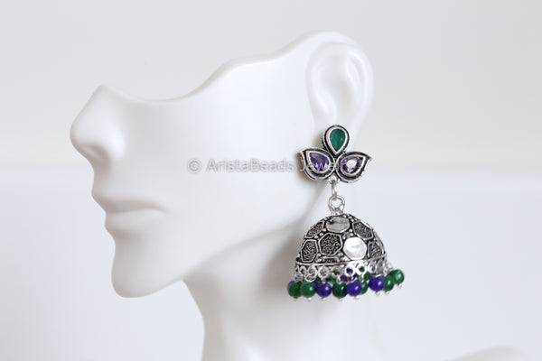 Oxidized Blue Green Jhumka