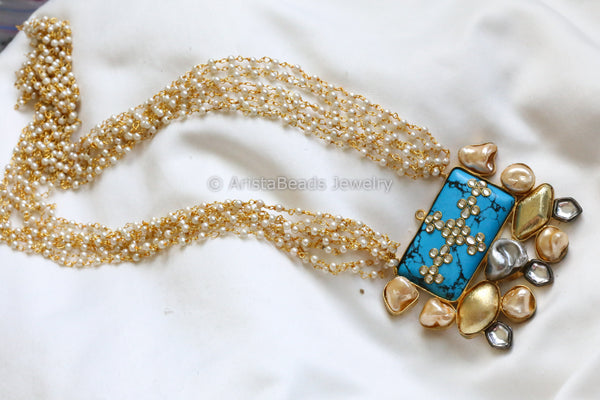 Contemporary Kundan Turquoise Mala Necklace
