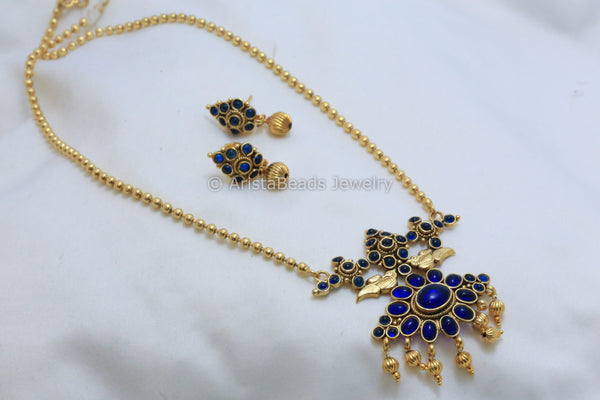 Blue Kemp Polki Necklace