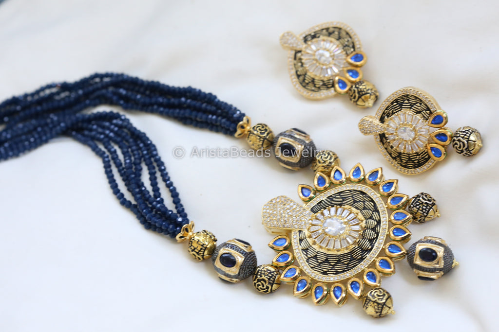 Contemporary Layered Blue Kundan Necklace