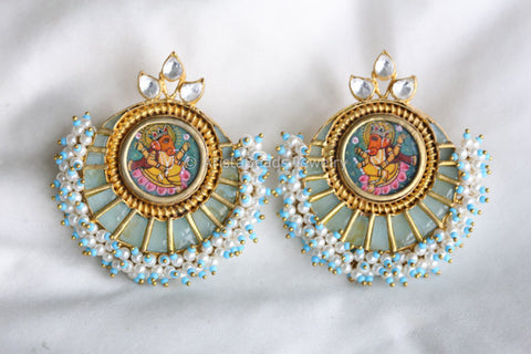 Large Contemporary Ganesha Kundan Earrings