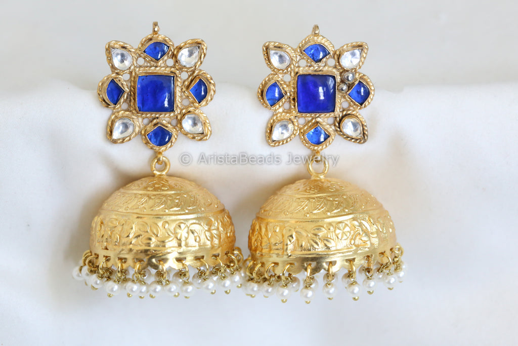 Reserved for Divya> Large Matt Finish Blue Kundan Jhumka