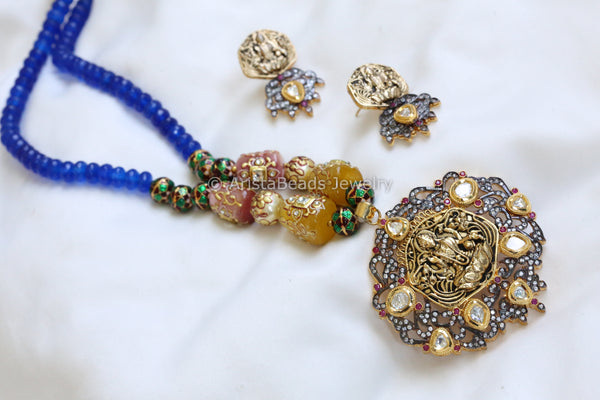 Blue Beaded Victorian Kundan Pendant Set